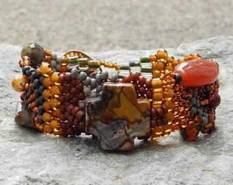 Free Form Peyote Stitch Beaded Bracelet  - Painter's Palette