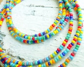 Handcrafted Unisex Multi Colored Glass Seed Bead Bohemian Gypsy Choker Necklace