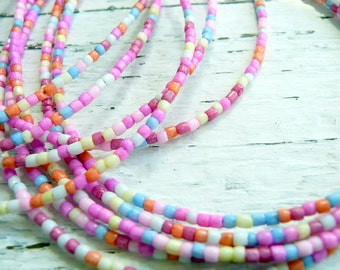 Candy Land Tiny Pink Multi Colored Czech Seed Bead Bohemian Summer Beach Choker Necklace