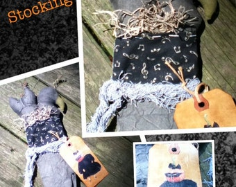 Primitive Crow and Cat Fall Stocking