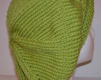 Rolled Brim Wool Tam - Slouchy Knit Beret - Knitted Dreadlock Tam - Apple Green