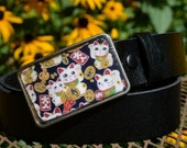 Felicity Belt - Lucky Cat Buckle with Black Leather Belt