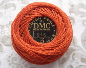 SIZE 8 - DMC Pearl Cotton Balls - 946 Medium Burnt Orange