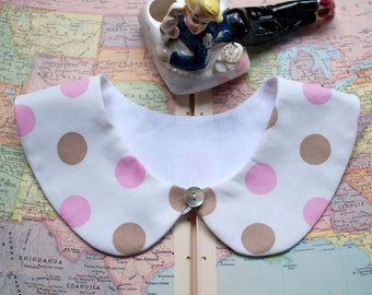 SALE - 25% off - Detachable schoolgirl collar - Peter Pan - White with polka dots, pink and light brown