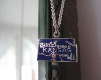 Vintage Kansas State Travel Charm for Bracelet Pendant Necklace Sterling Silver blue