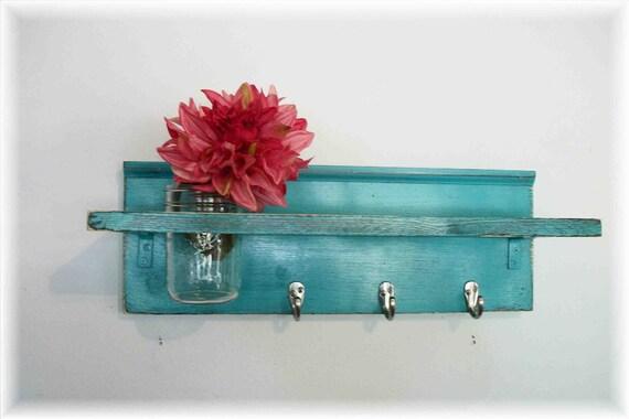 Beach Retro Mod Turquoise Color Primitive Shelf Silver Hooks