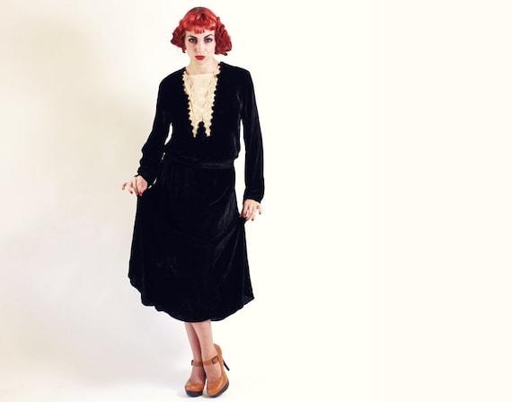 20s Dress - Black Silk Velvet Drop Waist Dress with Belt and Beige Yoke - Med Lrg