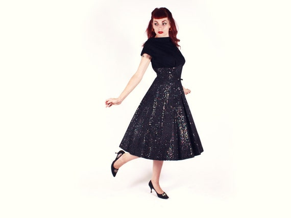 RESERVED 50s Dress - Black Wool Taffeta Princess Seam Party Dress with GLITTER - Large