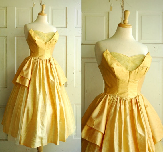 1950s Prom Dress / Vintage Gold Alfred Angelo Dress