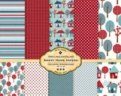 Sweet Home Digital Papers  Red and Blue