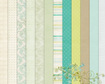 Digital Aged Vintage Style Papers,  Backgrounds Beginnings 1