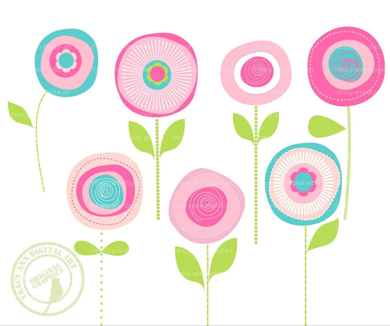 Flower Clip Art Summer Blooms Modern Flower Clip Art