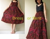 Sale 20 % off Chic Floral India cotton patchwork smock wait skirt or maxi dress S-L (I03)