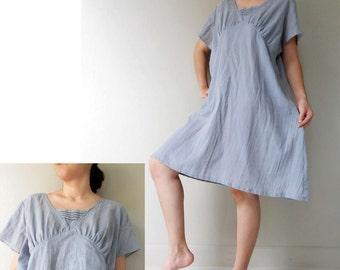 Custom Made Gray Cotton Small pleats Simply  Boho   Dress or Blouse  ( H)