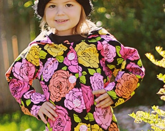 Hooded Jacket PDF Sewing Pattern 2t through 10 youth Instant girls boys