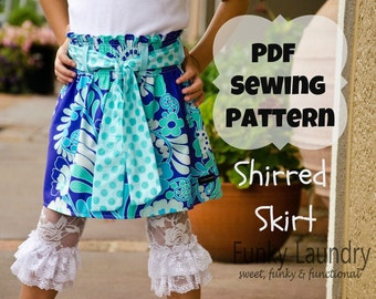 Girls Shirred Skirt Sewing Pattern Tutorial ebook for cotton or knit fabric sizes 3m through 12 girls PDF Whimsy Couture