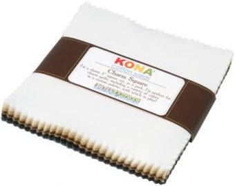"SQ102 Robert Kaufman Kona Cotton NEUTRALS Charm Pack 5"" Fabric Squares CHS-141-41"