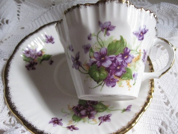 Salisbury Cup and Saucer-Purple Violets---Never Out of Place
