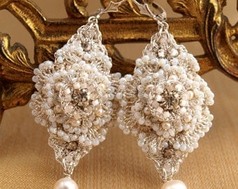 "Pearl Wedding Earrings / Bridal Jewelry / Vintage Rhinestones, Taupe Silk and Silver Lace /  ""Celestina"""