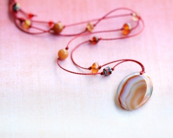 necklace, long, agate, spice