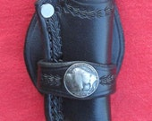 Trapper Knife Sheath- Custom Leather w/ Buffalo Nickel Trim