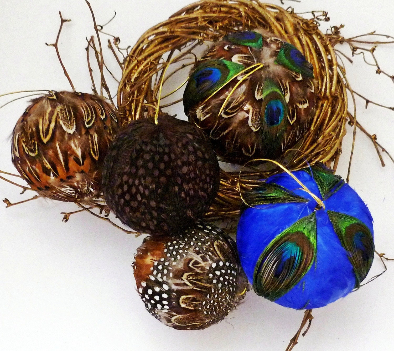 5 Peacock Feather Balls Fall Thanksgiving Christmas Halloween