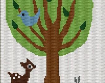 Tree of Life No.2 Baby Deer Bird Bunny Crochet Afghan Pattern Graph