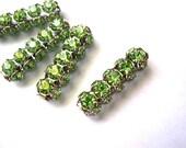 2 Vintage SWAROVSKI  beads light green rhinestones crystals in silver color metal setting genuine 1100 made in Austria