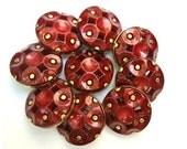 9 Antique vintage plastic buttons, dark red on gold color base, 25mm, RARE
