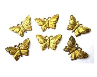 7 butterfly shape vintage metal findings