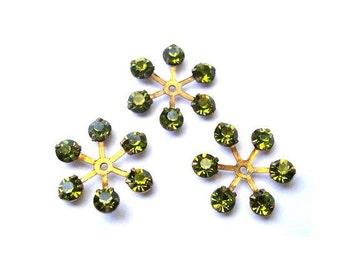 6 Vintage SWAROVSKI beads brass setting flower with green shade rhinestone crystals 17mm