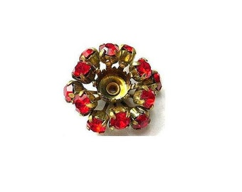 SWAROVSKI BEADS antique vintage  metal flower with red crystals- RARE