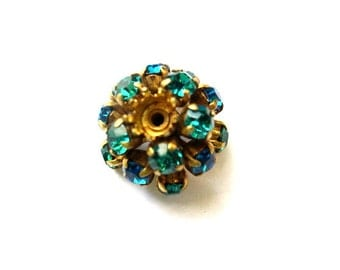 SWAROVSKI BEADS antique vintage  metal flower with blue and green crystals- RARE