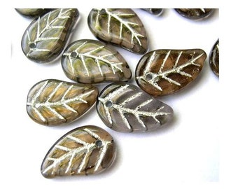 15 Czech glass beads brown with silver color trim 14mmX10mm