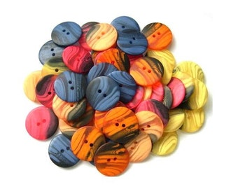50 Vintage buttons, set of 5 colors, can be use as beads for button jewelry, 23mm
