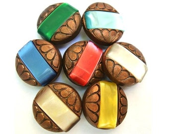 42 Antique vintage buttons, bronze color plastic buttons with 7 colors trims, 23mm beautiful buttons