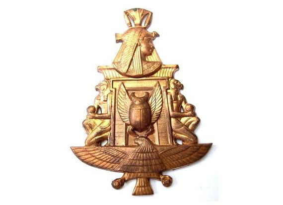 Vintage metal copper Egypt symbol 59mmX42mm metal stamping-RARE