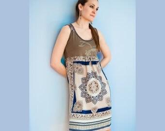 Silk Dress, Mandala, Recycled Silk, Boho Dress, Neutrals, Empire Dress, Rosalba Valentino Couture, Namaste, Ecocouture, Fall Fashion, OOAK