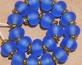 Tikibeads 20 Beautiful Etched Blue Seaglass Lampwork Beads SRA