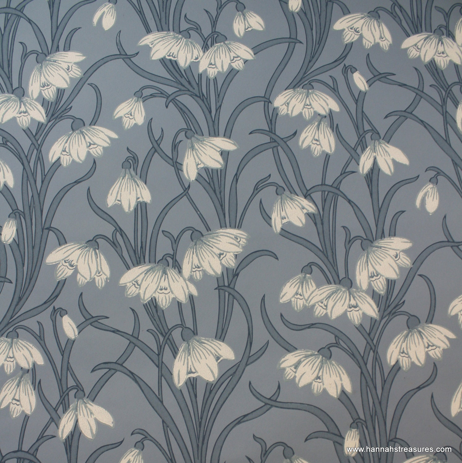 1920 39 s vintage wallpaper stunning white floral on blue