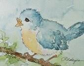 Blue Bird Watercolor Painting Original ACEO
