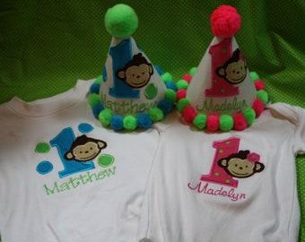 Personalized Modern Monkey Twins Party Set - Siblings - Party Hat - Bib - Bodysuit or T-shirt - Decor - Theme - Cake Smash - Boy or Girl
