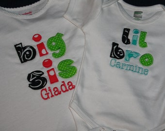 """Personalized """"Big Brother""""/""""Big Sister"""" OR """"Little Brother""""/""""Little Sister"""" Bodysuit or T-shirt - Siblings - Photo Shoot - Baby Shower"""