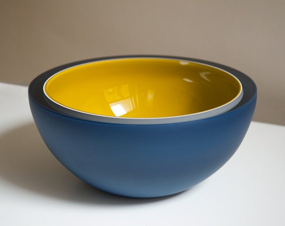 Triton Bowl, Hand Blown Glass Bowl in Navy Blue and Mustard Yellow