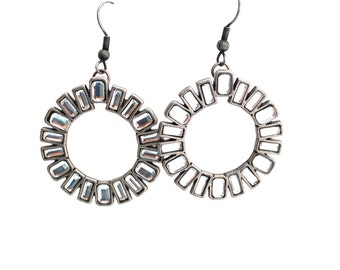 Rhinestone Circle Art Deco Earrings