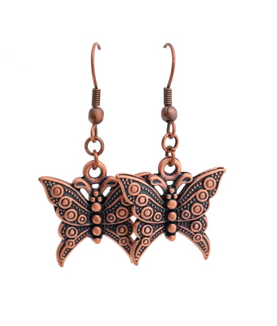 CLEARANCE SALE Antique Copper Butterfly Earrings