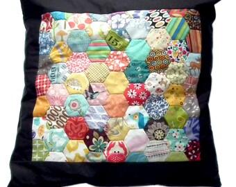 Rainbow Hexagons Patchwork Cushion Pillow