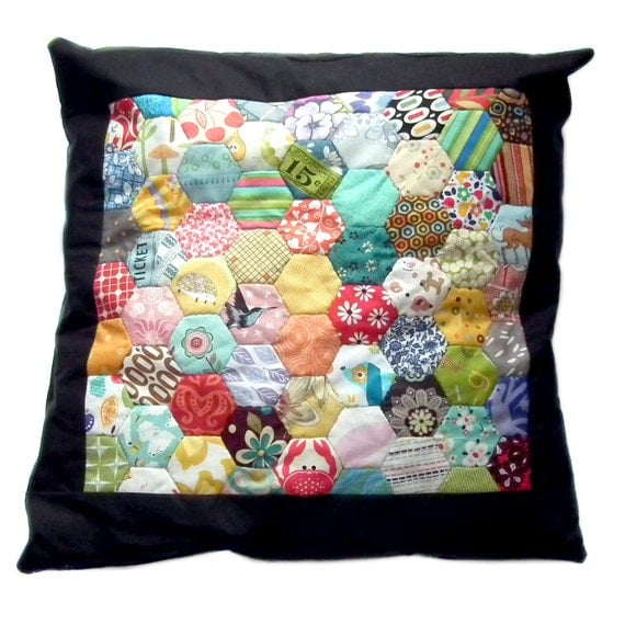Rainbow Hexagons Patchwork Cushion Pillow