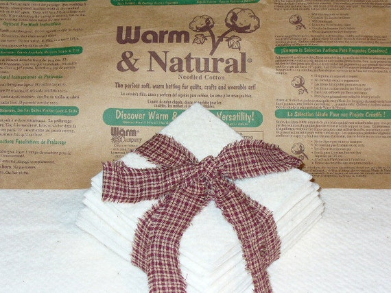 Batting Squares Rag Quilt 50 4 inch Warm and Natural for Rag Quilting