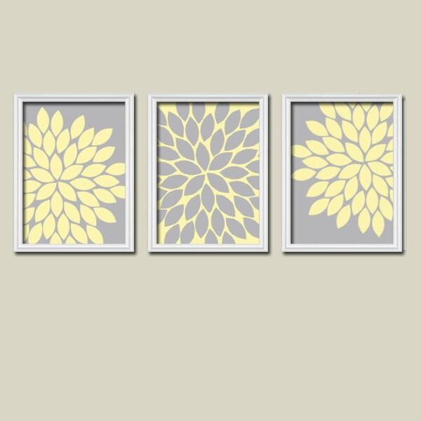 Yellow Flowers Wall Decor : Wall art canvas artwork grey yellow flower burst by trmdesign